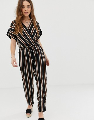 Gilli wrap front jumpsuit with tie waist in stripe