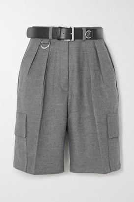 Frankie Shop Linda Belted Felt Cargo Shorts - Gray