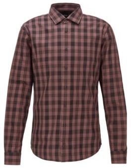 BOSS Slim-fit shirt in checked cotton twill