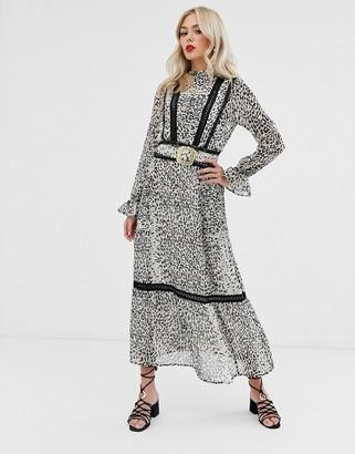 Asos Design DESIGN lace insert maxi dress with buckle belt in leopard print-Multi