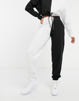 New Look color block sweatpants in black and white