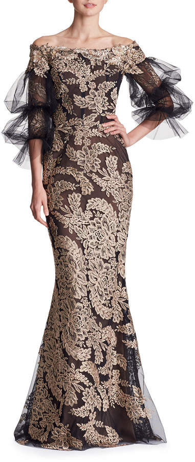 Marchesa Off-the-Shoulder Lace Column Evening Gown w/ Tulle Balloon Sleeves