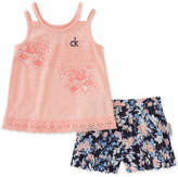 Calvin Klein 2-Pc. Tank Top & Printed Shorts Set, Little Girls
