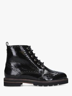 Carvela Shock Patent Leather Brogue Lace Up Boots, Black