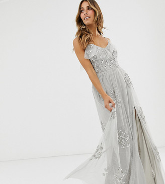 Maya frilly cami strap all over embellished dotty tulle maxi dress in gray