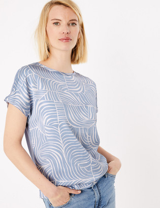 Marks and Spencer Printed Slash Neck Straight Fit Blouse