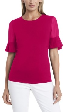 Vince Camuto Women's Flutter Sleeve Mix Media Top with Chiffon Inset