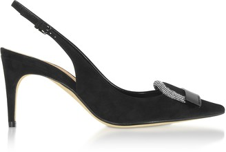 Sergio Rossi sr1 Black Royal Slingbacks w/ Crystals