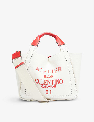 Valentino Atelier cotton and linen-blend mini tote bag