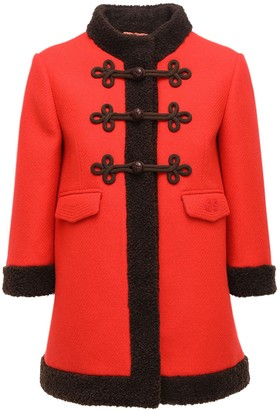 Gucci Felted Wool Short Coat W/ Faux Fur