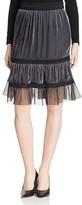 Elie Tahari Audra Lace Trim Velvet Skirt