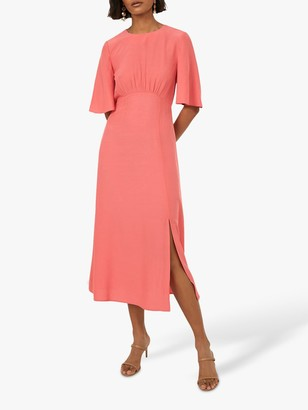 Warehouse Angel Sleeve Midi Dress, Light Pink