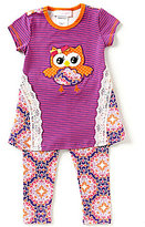 Bonnie Jean Bonnie Baby Baby Girls 12-24 Months Owl Applique Hi-Low Top & Printed Leggings set