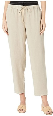 Eileen Fisher Tencel Linen Tapered Ankle Pants w/ Drawstring (Haze) Women's Casual Pants