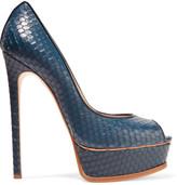 Casadei Snake-effect leather platform pumps