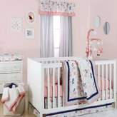 The Peanut Shell Floral Crib Bedding Collection in Coral