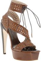 Woven Platform Sandal - Brown