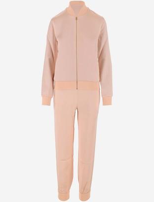 Fendi Peach Pink Cotton Satin Women's Track Suit