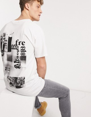 New Look overized true back print t-shirt in white