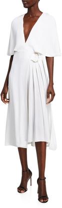 Cushnie Cape-Sleeve Midi Dress