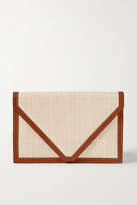 Hunting Season Envelope Leather-trimmed Raffia Clutch - Light brown