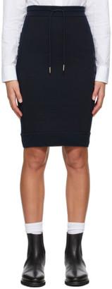 Thom Browne Navy Loopback 4-Bar Sack Skirt
