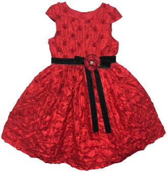 Joe Ella Embroidered Rosette Taffeta Dress With Velvet Sash