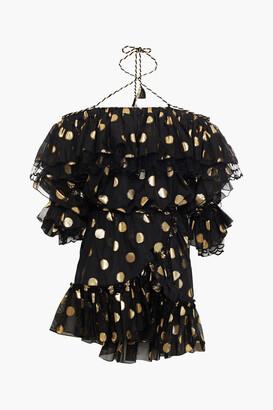 Dundas Cold-shoulder Ruffled Metallic Fil Coupe Silk-blend Mini Dress