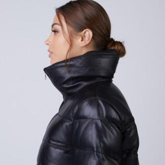 DSTLD Leather Puffer Jacket in Black
