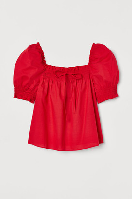 H&M Puff-sleeved cotton blouse