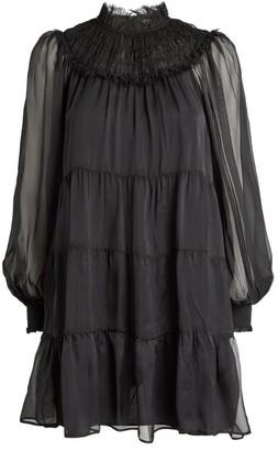 Alice + Olivia Ruffle-Neck Kellyann Dress