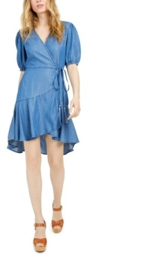 GUESS Candy Ruffled Chambray Wrap Dress