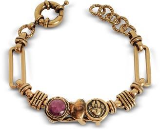 Alcozer & J Sacred Heart Golden Brass Bracelet w/Gemstone