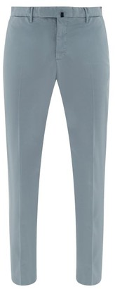 Incotex Tailored Cotton-blend Twill Chino Trousers - Mens - Light Blue