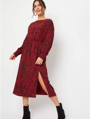 George Red Leopard Print Midaxi Dress