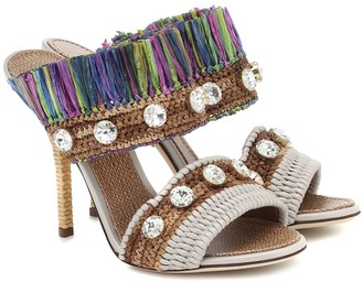 Dolce & Gabbana Keira embellished raffia sandals