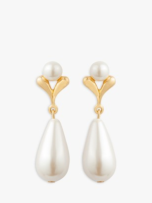 Susan Caplan Vintage 22ct Gold Plated Faux Pearl Earrings, Gold