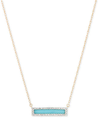 "Elsie May Turquoise (3/8 ct. t.w.) & Diamond (1/10 ct. t.w.) Dash Pendant Necklace in 14k Gold, 17"" + 1"" extender"