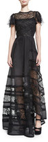 Jason Wu Lace-Inset Short-Sleeve Ball Gown, Black
