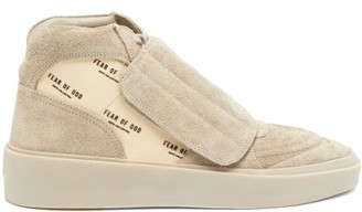 Fear Of God Skate Logo-print Suede Mid-top Trainers - Beige Multi