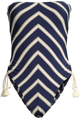 Robin Piccone Abi Bandeau Chevron One-Piece Swimsuit