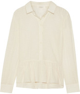 The Great Oxford Ruffled Cotton-gauze Shirt - Cream