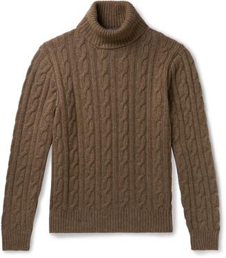 Ralph Lauren Purple Label Cable-Knit Melange Cashmere Rollneck Sweater