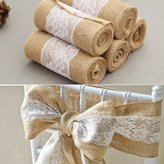 OZXCHIXU Burlap Hessian Ribbon with Lace Sashes for Wedding Crft Party, 6 Inches x 245cm