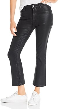 Paige Colette Cropped Flared Jeans in Black Fog Luxe Coating - 100% Exclusive