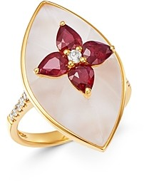 Bloomingdale's Ruby, Rock Crystal & Diamond Ring in 18K Yellow Gold - 100% Exclusive
