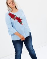 Evans Striped Embroidered Top With Flared Sleeves