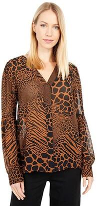MICHAEL Michael Kors Graphic Animal Shirt (Caramel) Women's Clothing