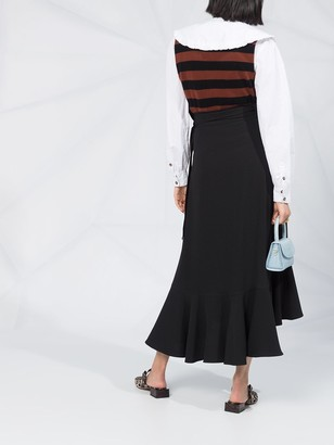 Ganni Ruffle-Hem Midi Skirt