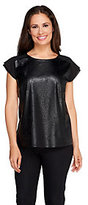 Walter View by Baker Faux Leather Short Sleeve Blouse